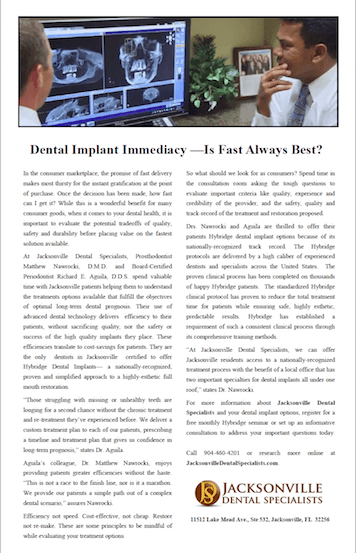 Dental Implant Article Featuring Dr. Nawrocki and Dr. Aguila