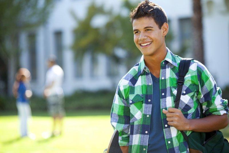 smiling teenager at school